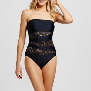 Mossimo Black Crochet  One Piece Swimsuit Medium